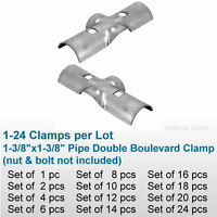 1-3/8 Chain Link Fence Line Rail Double Boulevard Clamp X Bracket Pipe Fitting
