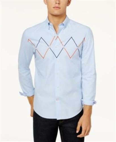 Tommy Hilfiger Classic Fit Cotton Blue Embroidered Shirt Mens Size Small New
