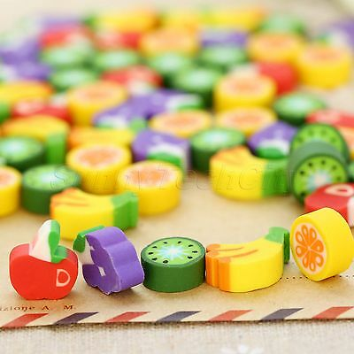 Approx 100Pcs Cute Mini Fruit Rubber Pencil Eraser Children Stationery Gift Toy