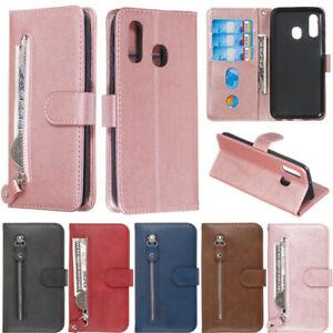 Fermeture-eclair-Wallet-cuir-Flip-Case-Cover-Pour-Samsung-S20-S10-S9-S8-Plus-A51-A50-A10