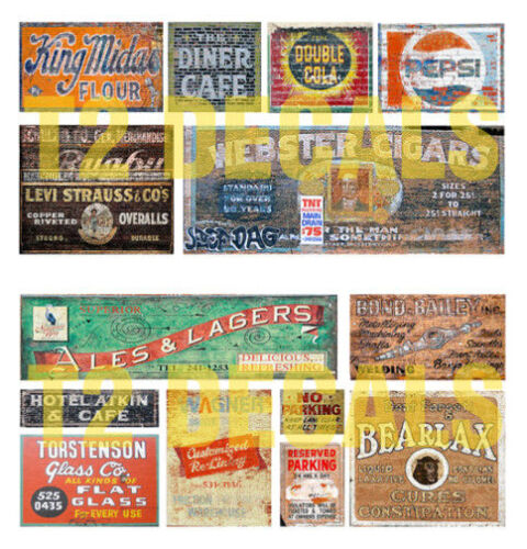 HO Scale Ghost Sign 2-Pack #3 Great for Weathering Buildings /& Structures!