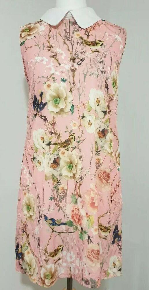 Nouveau! Summer Mini Robe Uk-12 Oiseaux/fleurs Imprimé Peter Pan Collier Rose * £ 25 Bnwt