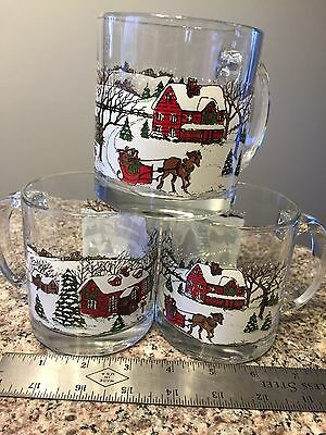 Currier and Ives Clear Glass Coffee Mugs, Set of 3,  Horse Drawn Sleigh