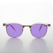 Purple Tinted Half Frame Classic Horn Rim Vintage Sunglass - BROOKS