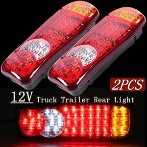 2x-Voiture-Camion-Remorque-LED-Lampe-de-Fontion-Feu-Arriere-Frein-Indicateur-12V