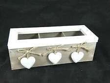 White Lid and 3 Hearts deco Wooden Tea / Trinket Storage Box With 3 Compartments
