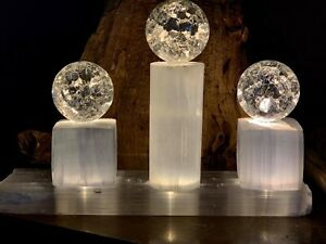 Conventional import Modern Natural Selenite Crystals & LEAD Crystals Sleek White Lamp Cord LED