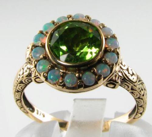 Victorian Peridot & Fiery Opal Poison Locket Ring