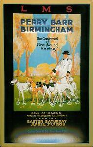LMS-Perry-Barr-Birmingham-Greyhound-Racing-1928-Blechschild-Tin-Sign-20-x-30-cm