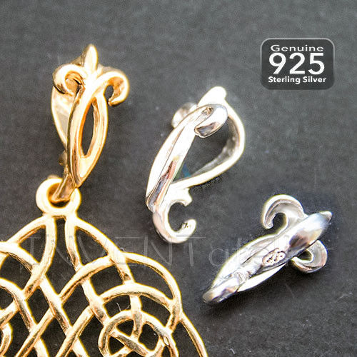 925 Sterling Silver LILY Fancy Bail with Open Ring Fits 6mm Cord Or Chain