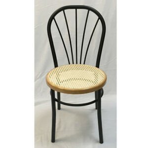 Incredible Details About Cafe Black Metal Side Chair With Cane Seat Ibusinesslaw Wood Chair Design Ideas Ibusinesslaworg