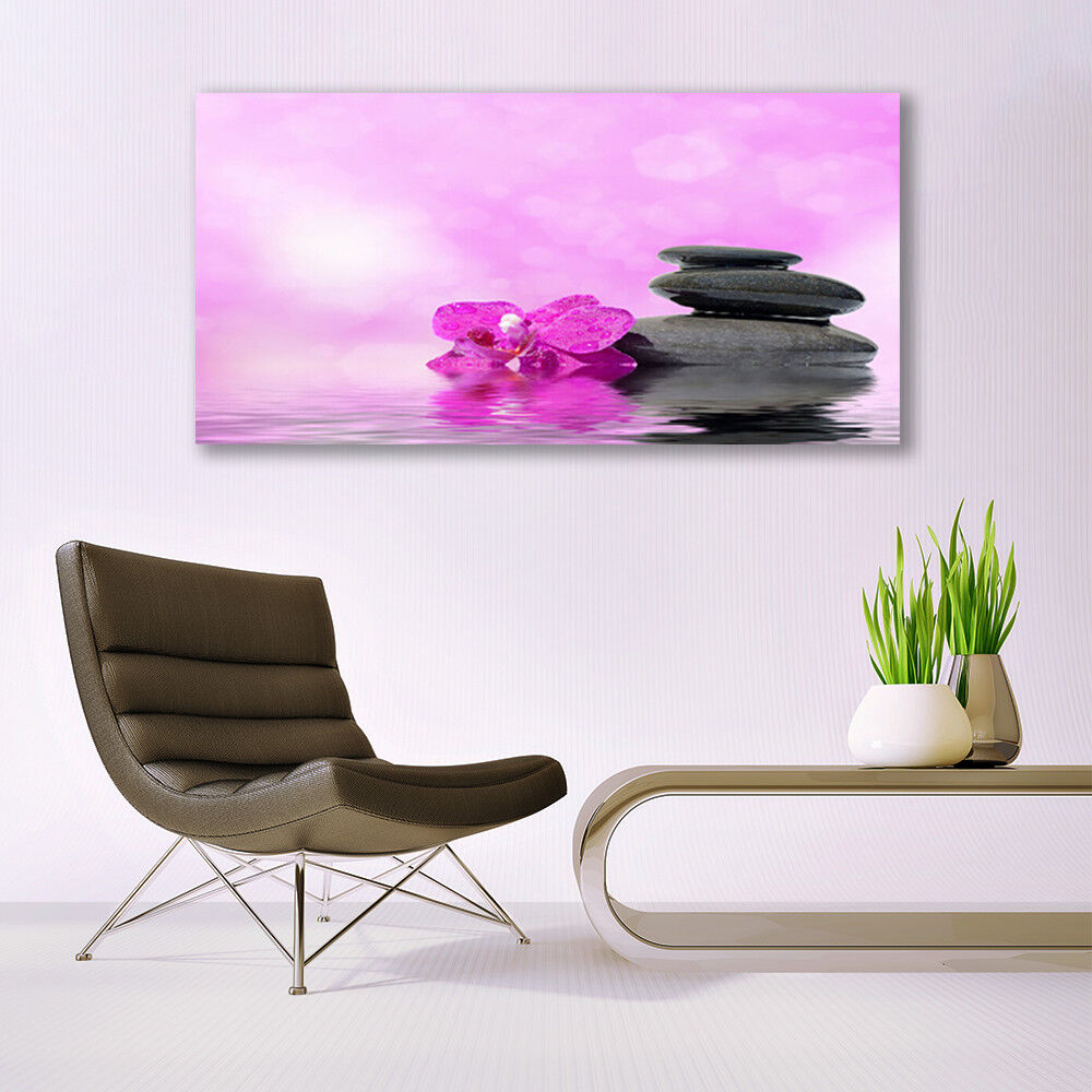 Canvas print Wall art on 140x70 Image Image Image Picture Flower Stones Art e0f7ed