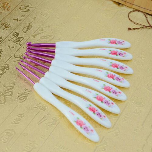 8Pcs Crochet Hooks Set ABS Handle Aluminum Crochet Needles Kit Sweater
