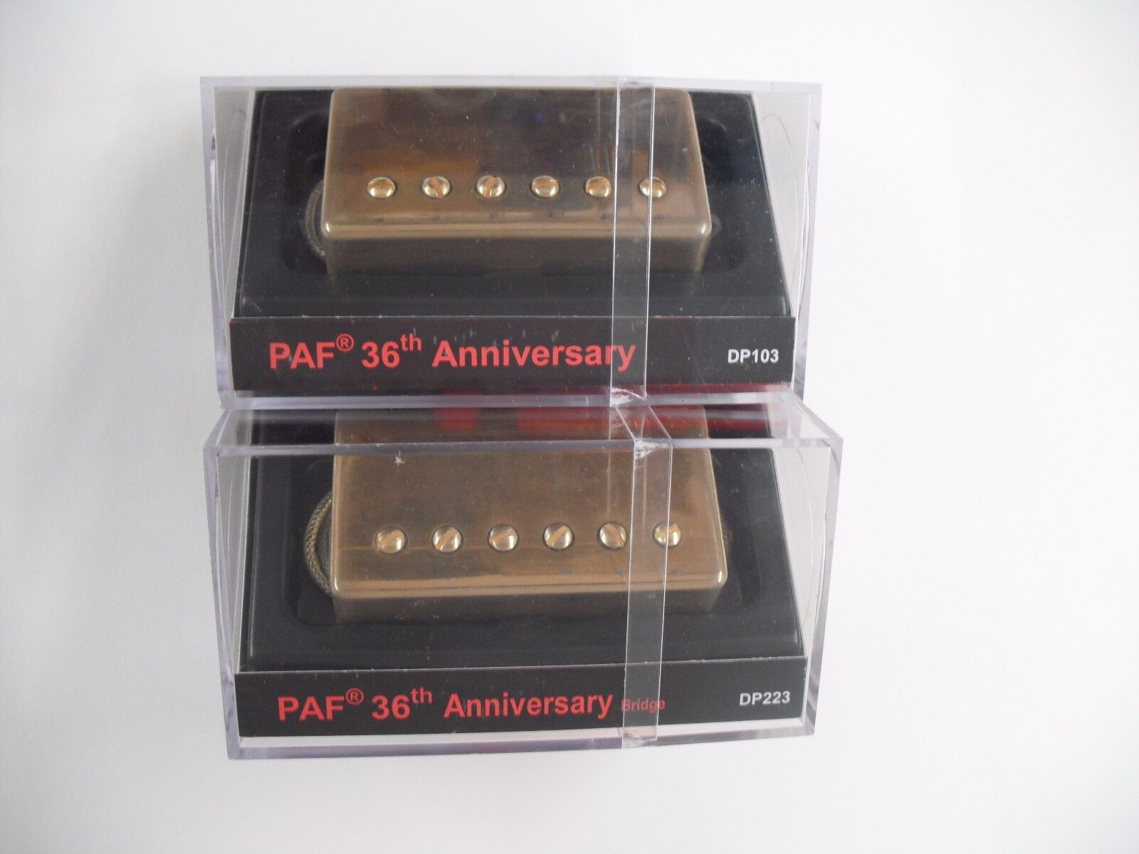 DiMarzio Regular Spaced PAF Neck Bridge Set Single Conductor W Aged Gold Cover