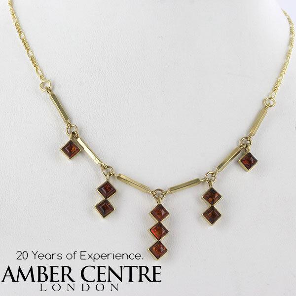 ITALIAN Made Naturale Baltic Baltic Baltic Amber Collana in oro 9ct-GN0006 106330