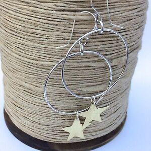 Sterling-Silver-Hoop-Earrings-with-hammered-brass-stars-handmade
