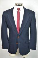 (42R) Farah Men's Navy Blue Classic Wool 2 Button Blazer Sport Coat Jacket