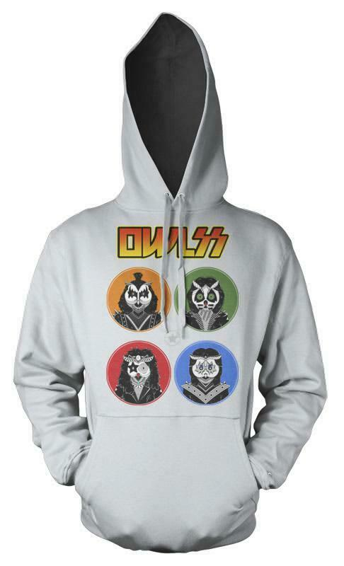 Rock And Owls All Night Kiss Mashup Adult Hoodie