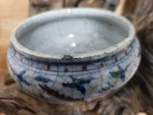 Chinese-DOU-CAI-With-Crackle-Porcelain-Pen-Wash-Pot