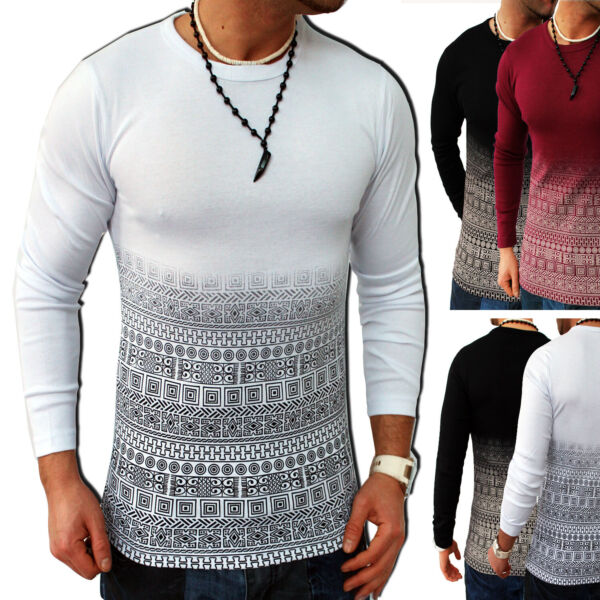 Herren Langarmshirt Shirt Pulli Rundhals Sweatshirt Hoodie Longshirt La.2.16 Neu