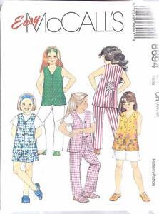 M8694-Girls-Size-7-8-10-Sportswear-Separates-Tunic-Shorts-Long-Pants-Slacks