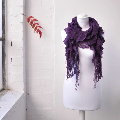 Women Ruffle Plain Knitted Scarf Elasticated Light Fabric Winter Warm Scarves
