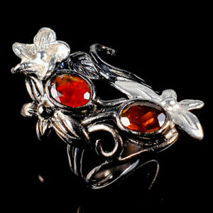 Beauty-Rainbow7x5mm-Natural-Orange-Opal-925-Sterling-Silver-Ring-Size-8-R118233