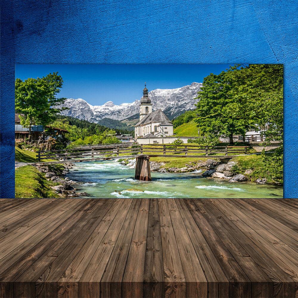 Crédence de cuisine en verre Panneau 120x60 Nature Eglise Pont Lac