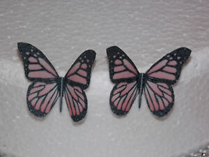 50 BABY PINK XL BUTTERFLIES PRE-CUT 2 DESIGNS EDIBLE CAKE RICE PAPER TOPPERS