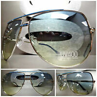 Mens Or Women Unique 80's Retro Vintage Style Sunglasses Silver Frame Green Lens