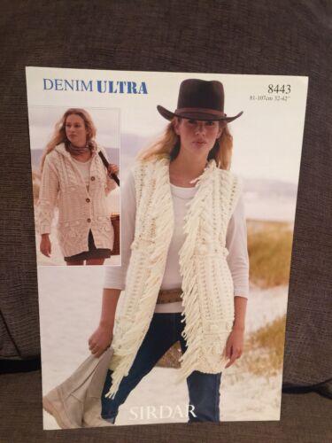 Sirdar 8443 Denim Ultra Jacket Waistcoat Sweater Vest Knitting Pattern