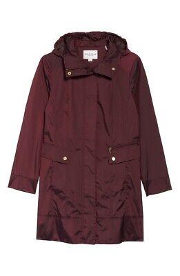 $200 Cole Haan Women/'s Petite Black Back Bow Packable Hooded Raincoat