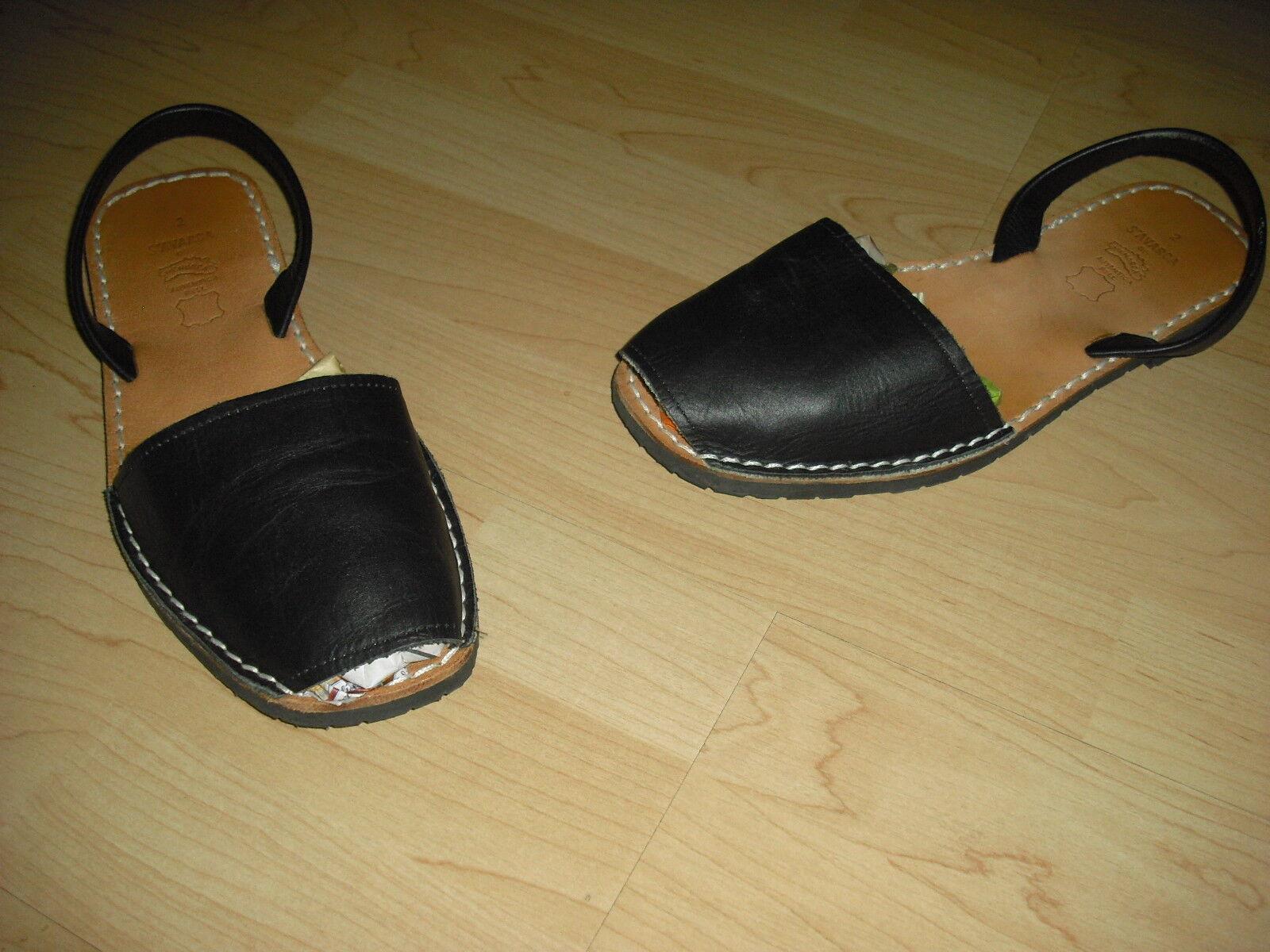Sandale Menorca Avarca Menorquinas echt Leder schwarz braun Gr. 41 NEU