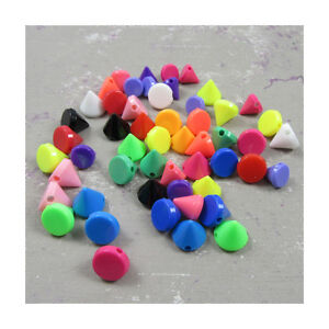 CONE-SHAPED-ACRYLIC-BEADS-17-COLOURS-3-SIZES-JEWELLERY-CRAFTS-BEADING-GIFTS
