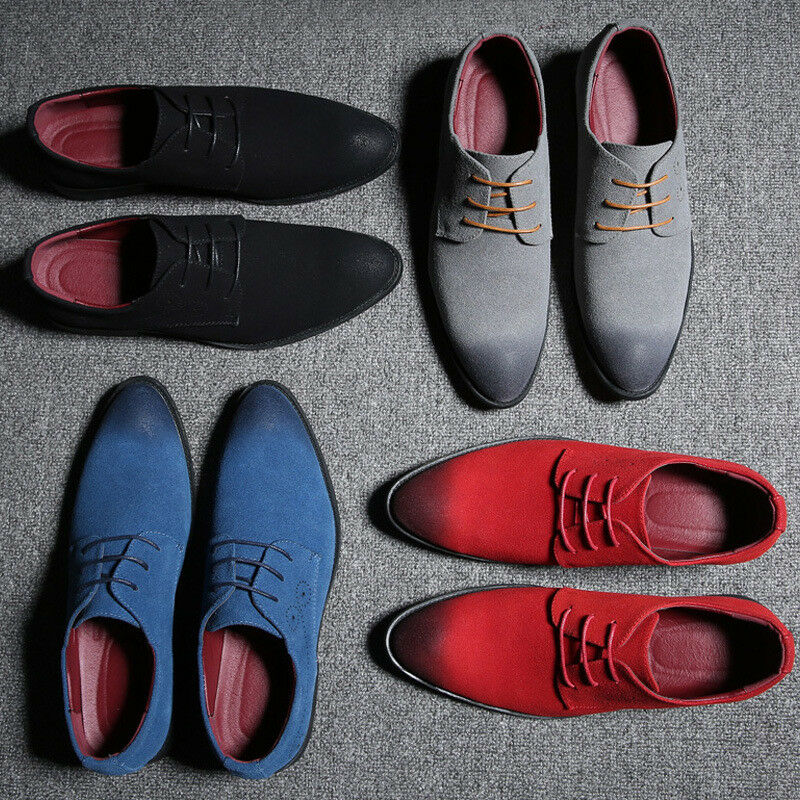 Mens shoes Casual Lace Up Flats Suede Oxfords Wingtip Leather Loafer colors Plus