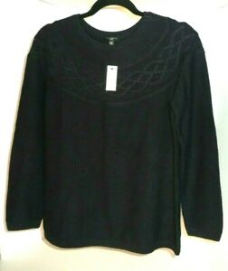 Talbots-Navy-Blue-Crew-Neck-Pullover-w-Cable-Accents-Sz-Petite-M-NWT-MSRP-79