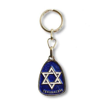 Jewish Star David Jerusalem Key Chain - Blue - Traveler's Prayer in English