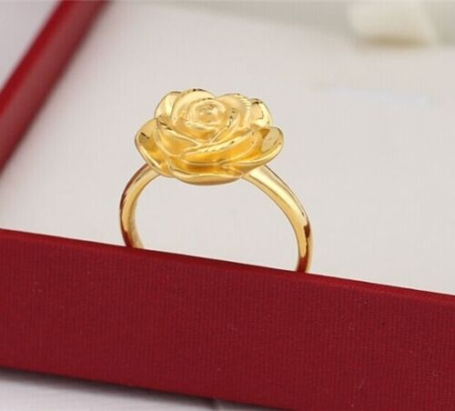 999 Pure 24K Yellow Gold Ring Woman Charming Rose Lucky Ring Best Love Gift