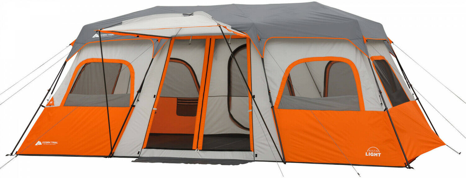12 Persons 18 X 10 Instant Cabin Tent W Integrated Led Light campeggio all'aperto