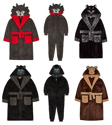 Older Boys Animal Design Dressing Gown 7-8 Years to 13 Years Panther Gorilla Monkey Wolf