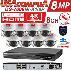 Details about Hikvision NVR KIT 8CH 8 POE 4MP Security Camera System / 4TB  HDD H,265+