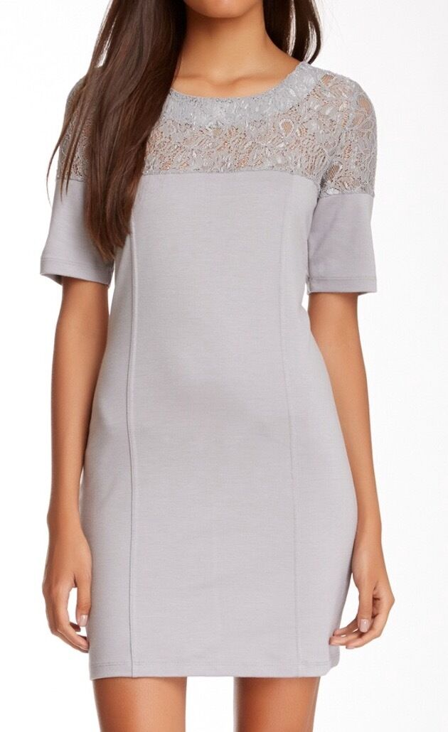 greenigo Short Sleeve Lace Zip Dress Lunar Grey XS NWT