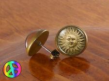 Handmade Glass Dome Sun Moon Goddess Face Fashion Earrings Studs Jewelry Gift
