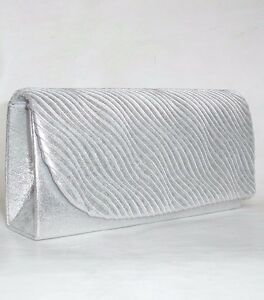 df4c59767 NEW WOMEN SILVER WHITE SHIMMER GLITZY SMALL CLUTCH SHOULDER PARTY ...