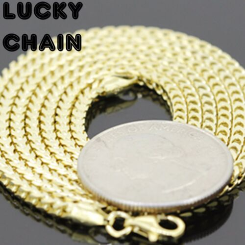 """24/""""925 STERLING SILVER GOLD SMOOTH FRANCO BOX CHAIN NECKLACE 2.5MM 17g E93"""