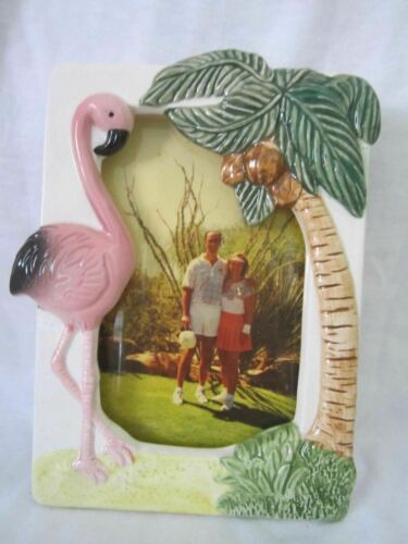 """Flamingo a 4/"""" x 6/"""" photo frame old ceramic c1997 22 years old NOS"""