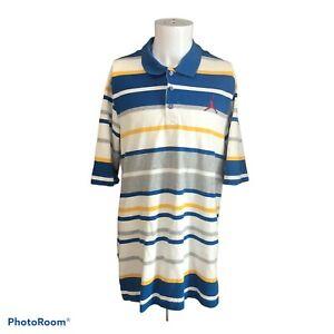 Vintage-Nike-Air-Jordan-Jumpman-Men-039-s-Blue-Yellow-White-Polo-Shirt-Sz-XXL