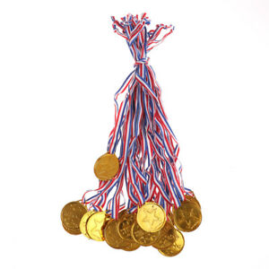 20x-enfants-en-plastique-medaille-d-039-or-medailles-Sports-Awards-jouets-decorsWLFR