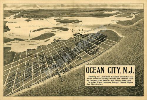 Ocean City NJ c1903 Perspective Map repro 24x16