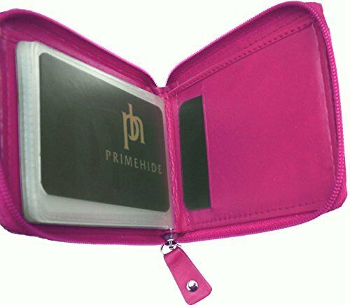 Soft Leather Red Zip Top Coin and Credit Card Purse Primehide